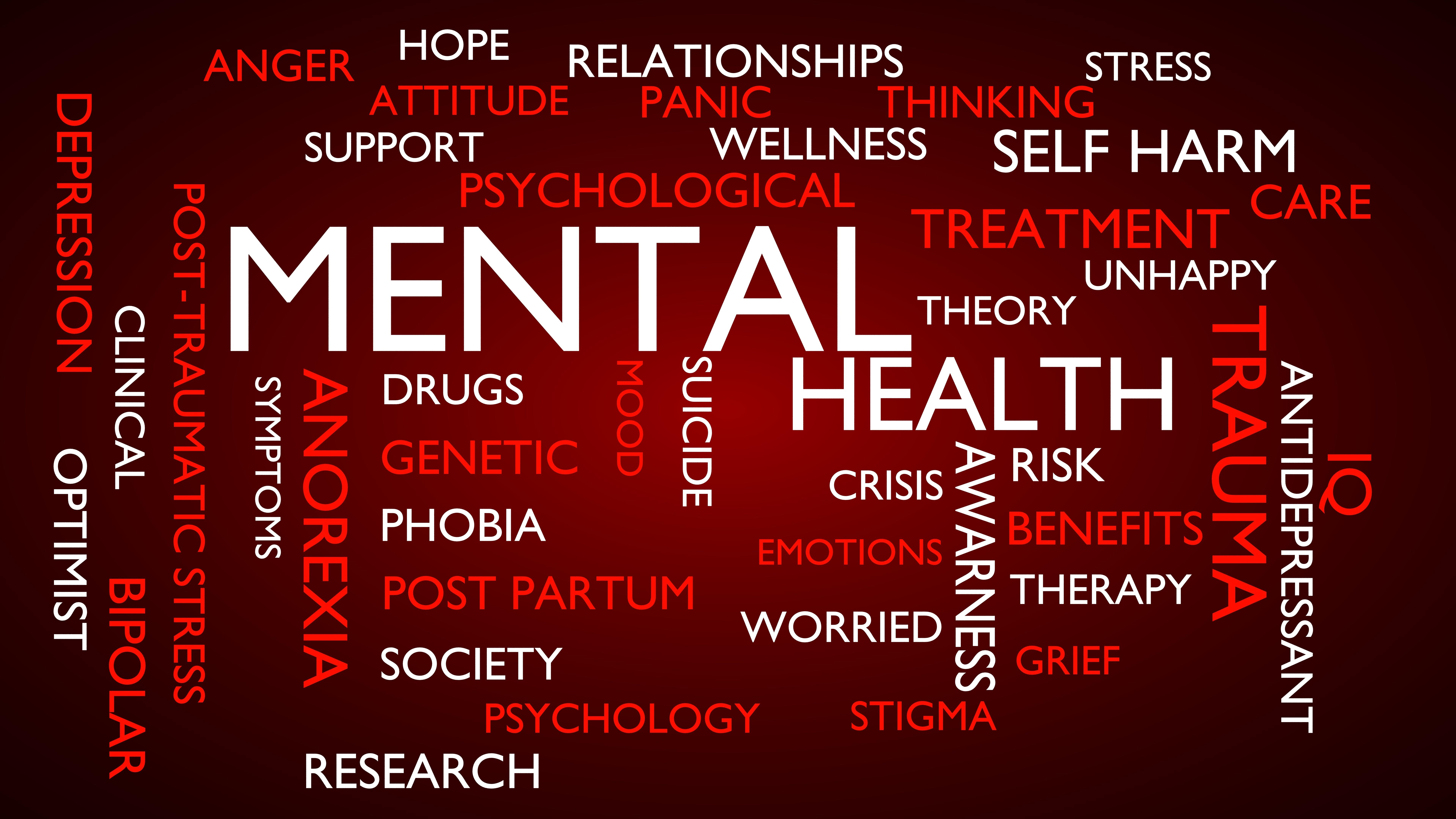 Mental health word tag cloud. 3D rendering, red variant.
